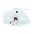 banner template with boy on a skate vector image