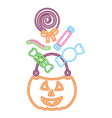 basket halloween pumpkin with candies isolated vector image vector image