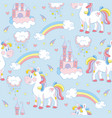blue seamless pattern with unicorns and elements vector image vector image