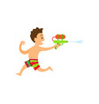 boy in shorts playing water game summer vector image