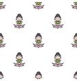 cartoon meditating yoga girl seamless vector image