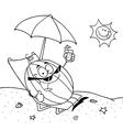 Cartoon watermelon at beach vector image vector image
