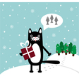 cat with present vector image
