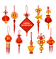 chinese new year ornament icon of lantern and coin vector image