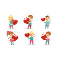 collection cute little boys and girls holding vector image