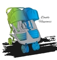 colorfull Double twin Stroller vector image vector image