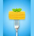 corn cob at fork organic vector image vector image