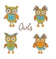 Cute funny owls vector image vector image