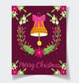 decorative bell bow flower leaves celebration vector image vector image