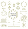 Design element set mono line art geometry symbol vector image