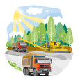 drawing color dump trucks vector image vector image