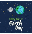 Earth globe high five with moon cartoon vector image vector image
