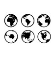 earth globe icons world circle map geography vector image vector image