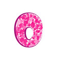 english pink letter o on a white background vector image vector image
