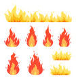 fire flame bonfire red-yellow burning fiery vector image vector image