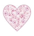 floral heart isolated on white background vector image vector image
