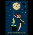 halloween of cute young witch with cauldron on vector image vector image