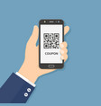 hand hold smart phone with coupon qr code on vector image vector image