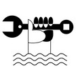 hand with spanner water waves icon isolated vector image vector image