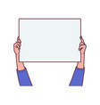 hands hold blank poster or banner sketch cartoon vector image vector image