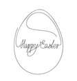 happy easter calligraphic lettering in egg vector image