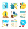 house or room cleaning flat desing vector image vector image
