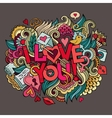 I Love You hand lettering and doodles elements vector image vector image
