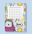 june calendar information with penguin and flowers vector image