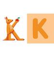 k is for kangaroo letter k kangaroo cute vector image vector image