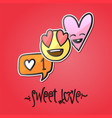 love stickers emoji icons emoticons vector image