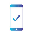 mobile phone icon with check approve done or vector image vector image