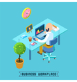 Modern Workplace Isometric Office Businessman vector image vector image