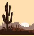 morning landscape with saguaro cacti prickly pear vector image vector image