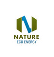 nature eco energy letter n icon vector image vector image