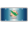 oklahoma license plate flag vector image vector image