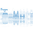 Outline Prague skyline with blue buildings vector image vector image