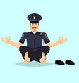 Policeman meditating Cop yoga Police officer vector image