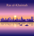 ras al-khaimah silhouette on sunset background vector image vector image