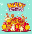 red and yellow pile of christmas items an vector image vector image
