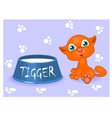 red kitten with milk vector image vector image