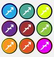 Sagittarius icon sign Nine multi colored round vector image