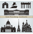 Saint Petersburg landmarks and monuments vector image vector image