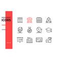 school - modern line design style icons set vector image