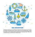 sea adventure round concept banner with ship icons vector image vector image