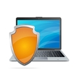 Security concept Shield antivirus and laptop vector image vector image