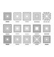 set 15 brushs patterns in a square line black vector image vector image