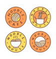Set of food badges Noodle cafe noodles vector image vector image