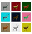 set of in flat style deer vector image