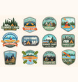 set of summer camp canoe and kayak club badges vector image vector image