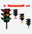 set realistic traffic light vector image